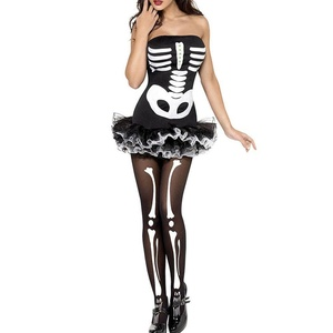 MAX Sonne Women's Spandex Printed Glow-In-The-Dark Skeleton Catsuit Short Bra Dress