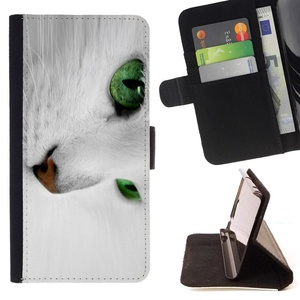 Funny Gift Phone Case Leather Wallet Protective Case with Slots for Money Cards fit MOTOROLA MOTO X PLAY XT1562 //White Cat With Green Eyes//
