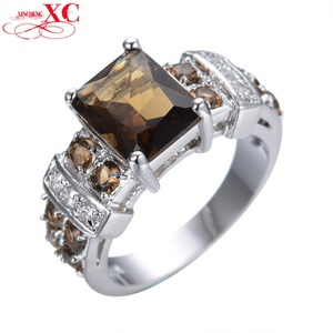 GemMart Jewelry Big Crystal Female Male Ring White Gold Filled Cubic Zircon Wedding Engagement Birthday Jewelry Anel Anies RW0454
