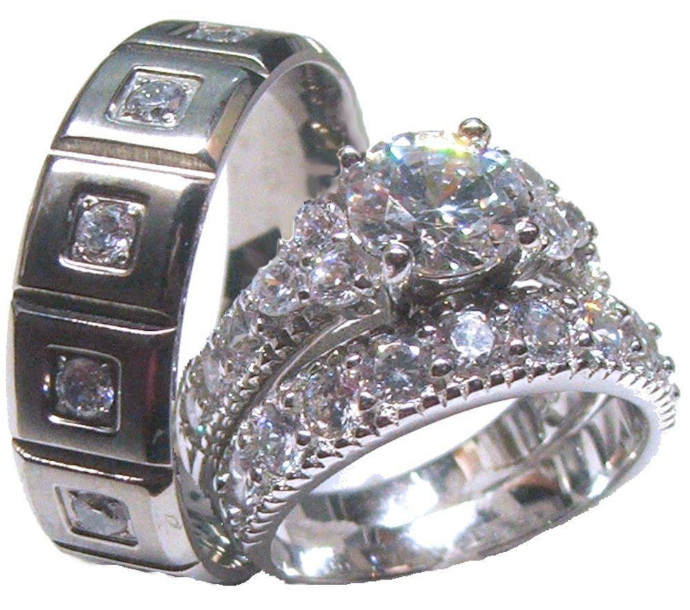 3 Piece Wedding Ring Set His Hers synrgyus