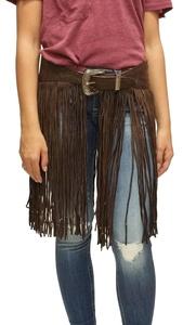 Brown Hand Tooled Genuine Leather Fringe Belt (30)