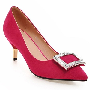 MINIVOG Women's Square Buckle Pointed Toe High Pump Shoes Rose Red 8