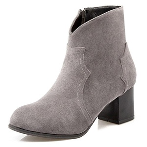 CHFSO Women's Fashion Solid Round Toe Zipper Mid Chunky Heel Ankle Boots Gray 7 B(M) US