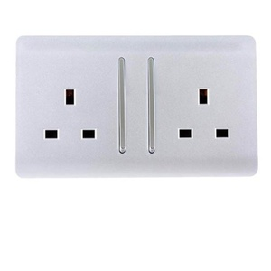Trendi Switch 2 Gang Artistic Modern Glossy 13 Amp Electrical Long Switched Plug Socket Silver by Trendi Switch