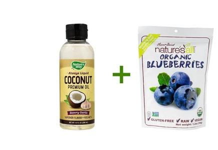 Nature's Way Always Liquid Coconut Premium Oil Savory Garlic -- 10 fl oz, ( 2 PACK ), Nature's All Foods Organic Freeze-Dried Raw Blueberries -- 1.2 oz