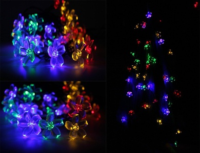 LK-Spring Solar String Lights Outdoor - Waterproof 50 Led 5 Multi Color Warm Lights for Christmas,Garden Patio, Lawn, Fence, Outside, Holiday and Festival Celebration