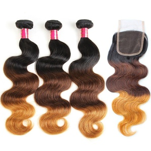 Allove Hair 8A Brazilian 3 Tone Ombre Color Body Wave Hair 3 Bundles(12 12 12+12) with Lace Closure Ombre Free Part 4X4 Closure with Remy Human Hair Body Wave Bundles Extensions