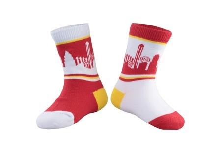 SKYLINE SOCKS Unisex Baby Kansas City Mini Red White and Yellow