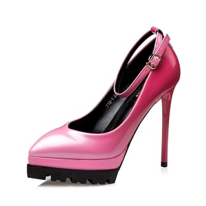 No.66 Town Women's High Heel Ankle Strap Pointed-toe Platform Party Pumps Shoes Size 4.5 Rose Red