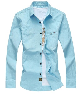 OULIU Mens Long Sleeve Non Iron Slim Fit Solid Dress Shirt Blue US-XXS