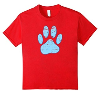 Kids Distressed Blue Dog Paw Print 10 Red