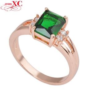 Cherryn Jewelry Emerald Green Wedding Finger Ring LWomen's Fashion Zircon anel 10KT Rose Gold Filled Ring RY0267
