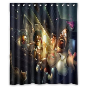 Decorations Collection,Cartoon Pinocchio Black,Polyester Fabric Bathroom Shower Curtain 60