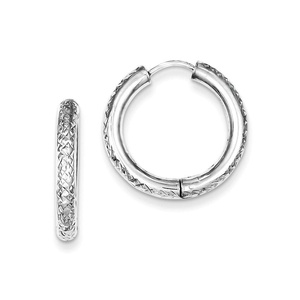 .925 Sterling Silver 21 MM Diamond-Cut Huggie Hoop Earrings