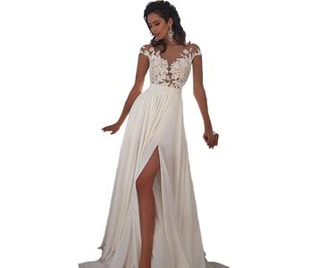 Angel Formal Dresses Women's Jewel Applique Chiffon Beach Wedding Dresses (16, White)