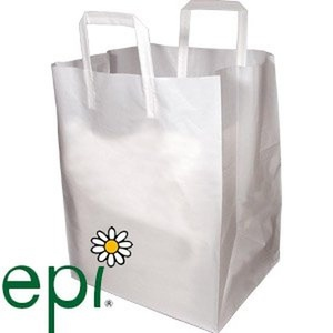 Biodegradable White Plastic Takeout Bags with Folded Loop Handle - 12 x 10 x 16