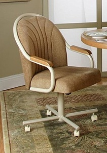 Casual Rolling Caster Dining Chair with Oak Arms and Fabric Seat and Back (1 Chair)