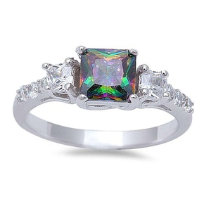 3 Stone Wedding Engagement Ring Princess Cut Square Rainbow Cubic Zirconia Round CZ 925 Sterling Silver