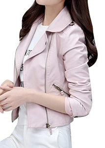 TRENDY XU Womens Slim Faux Leather Jacket Moto Zip Up Cropped Coat (S, Pink)