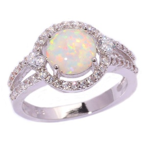 FT-Ring White Fire Opal White Topaz Jewelry Wedding Ring For Women Engagement Wedding Bridal Rings