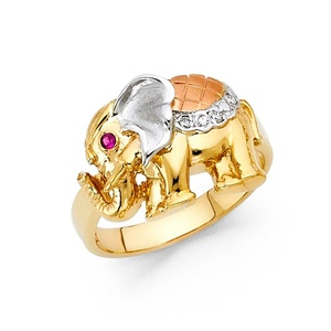 14K Solid Yellow Gold Cubic Zirconia 15mm Elephant Ring, Size 7.5