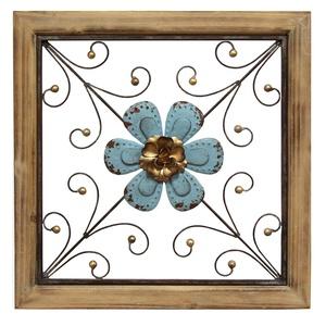 Stratton Home Decor S01882 floral square Wall Decor