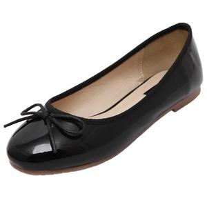 Women Ballet Flats HooH Round Toe Bowknot Skidproof Ballet Shoes Black 8 B(M) US