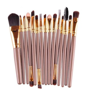Sunbona 15 pcs Eyeshadow Foundation Powder Eyebrow Lip Brush Makeup Brushes Set (Gold)