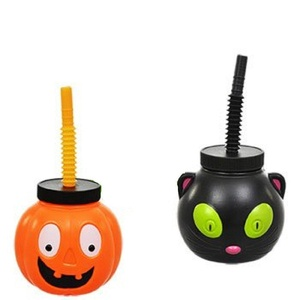 Plastic Halloween Character Cups With Flexible Straws Set of 2