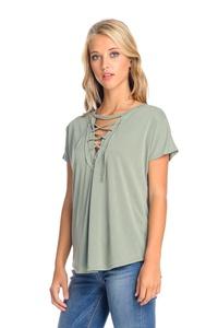 Emery Pointe Open Stitch Lace Up Shirt (Small, Sage)