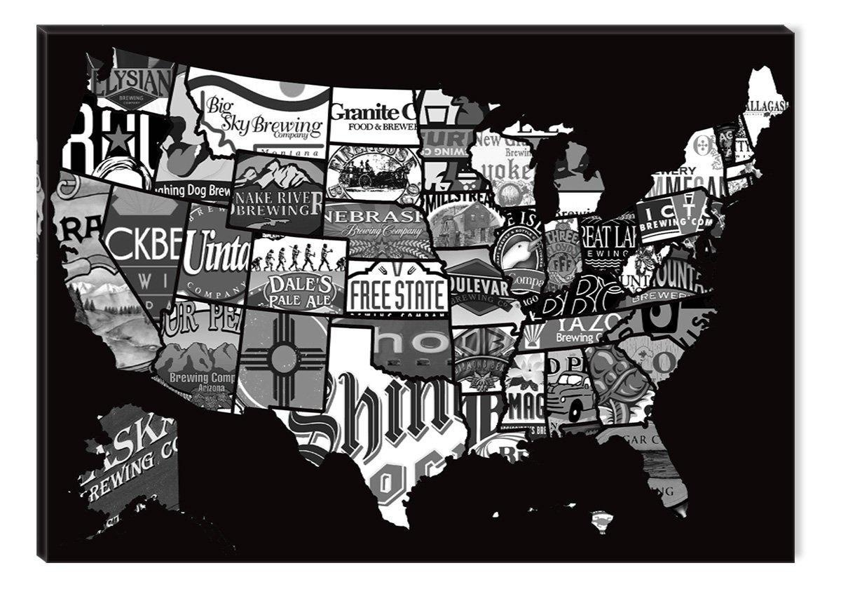 Online Store Inspirational Art Black And White Us Beer Map Canvas - Us beer map wall art