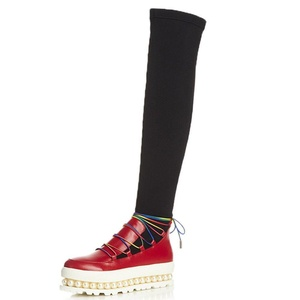 Nine Seven Genuine Leather Women's Round Toe Exquisite Heel Platform Lace Up Pearls Over The Knee Handmade Boot (7.5, red)