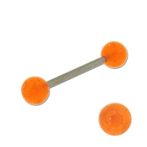 Acrylic Barbell Tongue Ring with Orange Glitter Ball