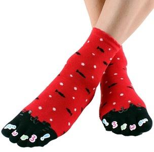 Cartoon Cat Girl's Cotton Five Fingers Toe Socks (red)