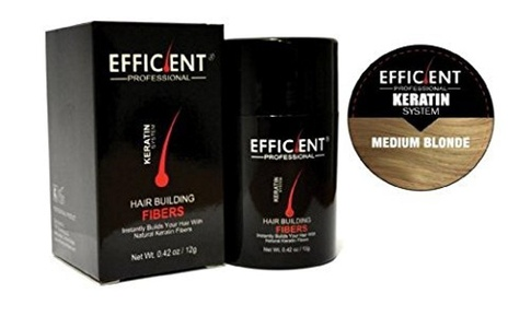 EFFICIENT Keratin Hair Building Fibers, Hair Loss Concealer Net Wt. 12gm / 0.42 oz (Medium Blonde) by EFFICIENT