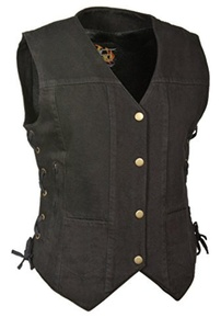 Milwaukee Leather Women's Denim 6 Pocket Vest with Side Lace (Black, X-Large) by Milwaukee Leather