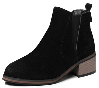 IDIFU Women's Classic Mid Chunky Heels Brogue Booties Faux Suede Slip On Ankle High Boots Black 4.5 B(M) US
