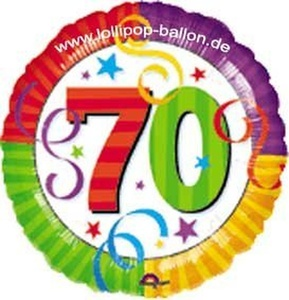 FOIL BALLOON-70th BIRTHDAY-RADIANT COLOUR-18/45cm by FOIL BALLOON-70th BIRTHDAY-RADIANT COLOUR-18/45cm