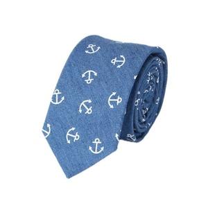 Hello Tie Unisex Denim Skinny Necktie Cotton Narrow Tie (Blue-Ancho)