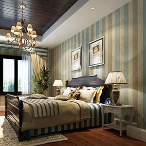 CCWY The blue mediterranean sea wood-grain non-woven cloth wallpaper nostalgic bedroom living room TV wall striped wallpaper