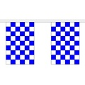 Royal Blue & White Checkered Bunting 9M Long - 30 Flags Football Chelsea Check by Royal Blue/White Checkered