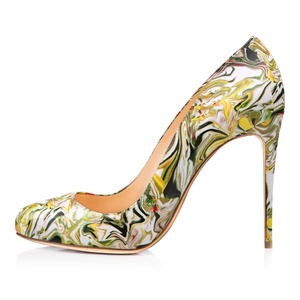 JOOGO Women Pointed Toe Stiletto High Heels Patent Leather Dress Shoes Green Yellow US Size 15