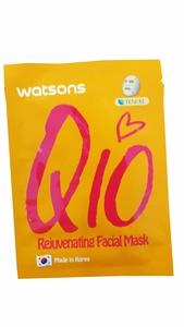 2 Mask Sheets of Watsons Rejuvenating Facial Mask with Co Q10 and rich sources of amino acids. Bringing your skin radiance and glow. (21 ml essence/ sheet)