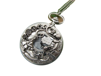 Antique silver Alice's Adventures in Wonderland Pocket Watch Necklace