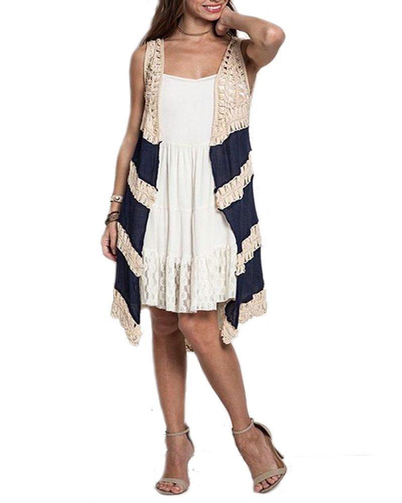 Online Store Umgee Womens Crochet Detail Sleeveless Cardigan