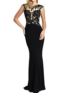 Winnie Bride Alluring Appliqued Formal Evening Prom Dress Long Fitted Party Gown-14-Black