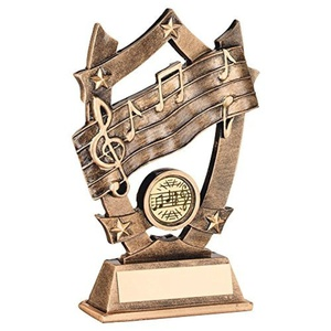 JR29-RF481 Brz/Gold Resin Music 5 Star Trophy - (1in Centre) 6.25in Includes Free Engraving (Up to 30 Characters) by Lapal Dimension