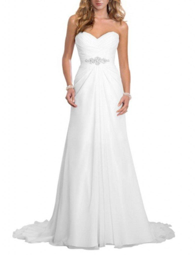 Winnie Bride Women's Sweetheart Long Bridal Wedding Dress with Train Plus Size-18W-White