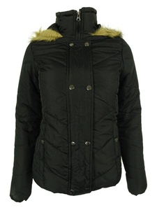 Krush Faux-Fur-Trim Quilted Coat Jacket Small Black