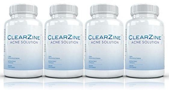 Clearzine (4 Bottles) - The Top Rated Acne Treatment Pill. Eliminates Acne, Blackheads, Redness, Blotchiness and Zits - 60 capsules per bottle by Clearzine Acne Solution